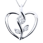 Sirena® 1/8 CT. Diamond 10K White Gold Flower Heart Pendant Necklace