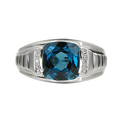 Mens Genuine Blue Topaz & Diamond-Accent Sterling Silver Ring