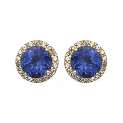 Lab-Created Blue and White Sapphire Halo Earrings