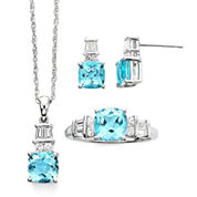 Genuine Blue Topaz and Lab Created White Sapphire Pendant, Ring or Earring