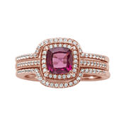 14K Rose Gold Over Sterling Silver Rhodolite and Diamond Ring