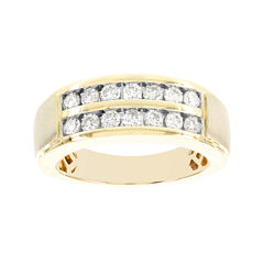 1 CT. T.W Diamond 2-Row 10K Yellow Gold Mens Band