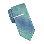 JF J. Ferrar® Ombré Paisley Tie with Tie Bar - Extra Long