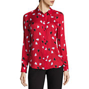 Liz Claiborne Long Sleeve Button-Front Blouse