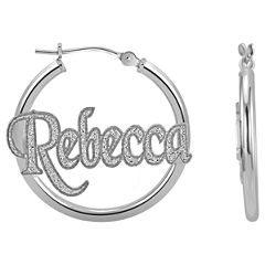 Personalized Sterling Silver Name Hoop Earrings