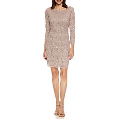 Tiana B 3/4 Sleeve Sequin Scallop Lace Shift Dress-Petites