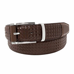 Stacy Adams Brushed Nickel Buckle Keeper Pattern Belt