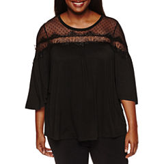 About A Girl 3/4 Sleeve Scoop Neck Rayon Blouse-Juniors Plus