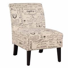 Lily Script Fabric Slipper Chair