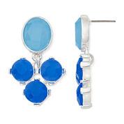 Liz Claiborne® Blue Stone Double-Drop Silver-Tone Earrings
