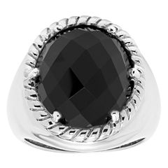 Womens Black Onyx Sterling Silver Cocktail Ring