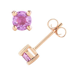 Round Pink Sapphire 14K Gold Stud Earrings