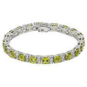 Womens Green Peridot Sterling Silver Tennis Bracelet