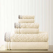 Pacific Coast Textiles Jacquard Solid 6-pc. Bath Towel Set