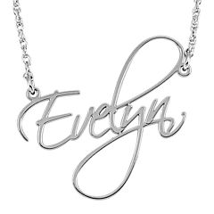 Personalized 27mm Cursive Name Pendant Necklace