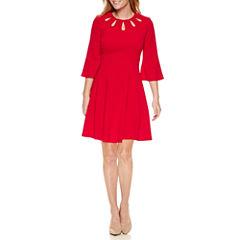 Danny & Nicole 3/4 Sleeve Fit & Flare Dress