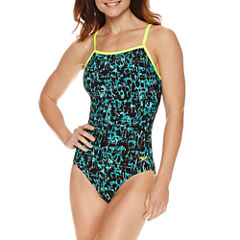 Speedo Print Cross Power One Piece Swimsuit
