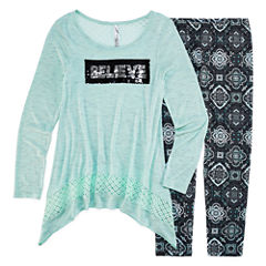 Knit Works Legging Set with Reversible Sequins Top - Girls 7-16