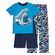 Arizona Boys 3-pc. Short Sleeve Kids Pajama Set-Big Kid