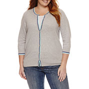 St. John`s Bay 3/4 Sleeve Crew Neck Cardigan-Plus