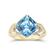 14K Gold-Plated Silver Blue Topaz & Diamond-Accent Ring