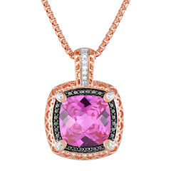 LIMITED QUANTITIES! 14K Rose Gold over Silver Lab-Created Pink Sapphire and Color-Enhanced Black Diamond Pendant