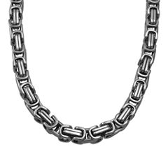 Mens Stainless Steel Square Byzantine Chain