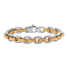 Mens Two-Tone Stainless Steel D-Link Bracelet