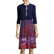 Danny & Nicole® 3/4-Sleeve Dot Print Jacket Dress