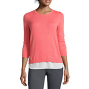 Stylus™ 3/4-Sleeve Split-Back Layered Sweater- Petite