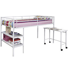 Pearson Twin Loft Bed With Desk and Shelves