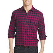 Izod® Long-Sleeve Flannel Button-Front Sport Shirt