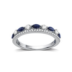 I Said Yes Womens 1/3 CT. T.W. Blue Sapphire Platinaire Band