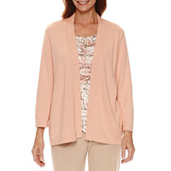 Alfred Dunner Just Peachy 3/4 Sleeve Crew Neck Layered Sweaters