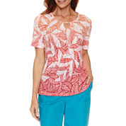 Alfred Dunner Tropical Vibe Short Sleeve Leaf Ombre T-Shirt