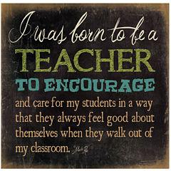 Born To Be a Teacher Canvas Wall Art