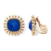 Monet® Gold-Tone Blue Cushion Clip-On Earrings