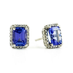 LIMITED QUANTITIES  Genuine Tanzanite and 1/5 CT. T.W. Diamond 14K White Gold Earrings