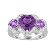 Sterling Silver Lab-Created Amethyst and White Sapphire Ring