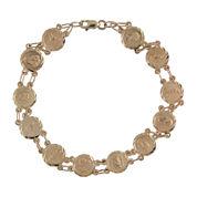 Rene Bargueiras® 14K Yellow Gold Sagrado Corazon Medal Bracelet