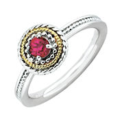Personally Stackable Two-Tone Lab-Created Ruby Ring in 10K White Gold over Sterling Silver