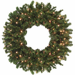 10 Ft. Pre-Lit Canadian Pine Artificial Commercial Christmas Wreath With Clear Lights