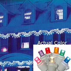 Set of 150 Multi-Color LED Wide Angle Swag Christmas Lights with White Wire