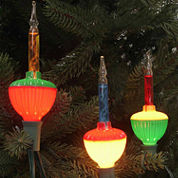 Set Of 7 Multi-Color Retro Christmas Bubble Lightswith Green Wire