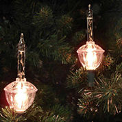 Set Of 7 Clear Retro Christmas Bubble Lights withGreen Wire