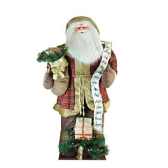 8' Inflatable Musical Santa Claus Figurine with LED Lighted Gift Bag