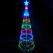 4' Multi-Color LED Lighted Show Cone Christmas Tree Yard Art