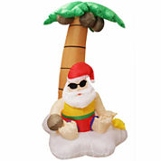 5.5' Inflatable Santa Claus & Palm Tree Tropical Lighted Yard Art