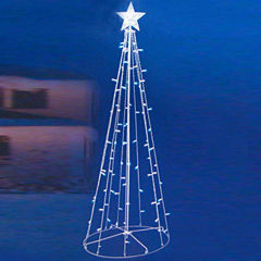 5' Blue & White LED Lighted Outdoor Twinkling Christmas Tree Yard Art