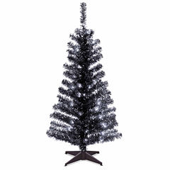 National Tree Co. 4 Foot Black Tinsel Pre-Lit Christmas Tree